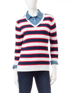 Jeanne Pierre Red / White / Blue Pull-overs Sweaters