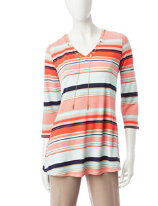 Notations Multicolor Striped Knit Top