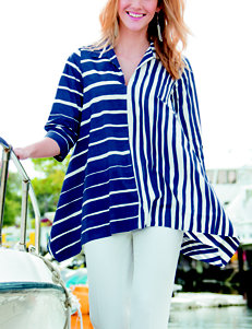Valerie Stevens Striped Print Popover Top