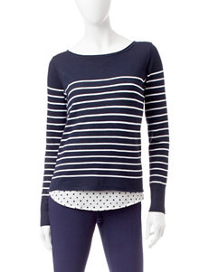 Valerie Stevens Striped Print Top