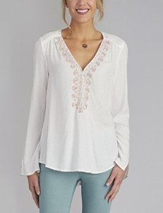 Democracy Embroidered & Textured Knit Top