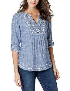 Vintage America Blues Embroidered Detail Top