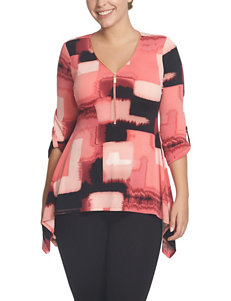 Chaus Pink & Black Abstract Square Print Top