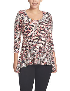 Chaus Multicolor Abstract Crosshatch Print Top