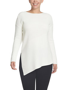 Chaus White Asymmetrical Hem Top