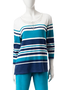 Alfred Dunner Embellished Striped Print Top