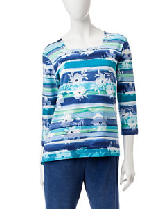 Alfred Dunner Watercolor Floral Print Top