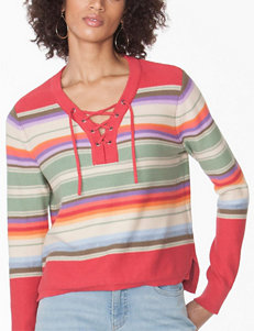Chaps Basketweave Stitch Lace-Up Sweater