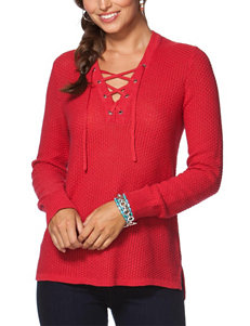 Chaps Lace-Up Sweater