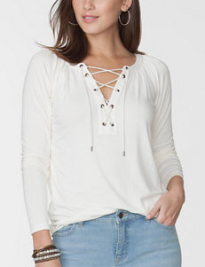 Chaps Lace-up Jersey Top