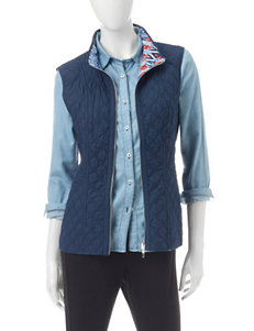 Alfred Dunner Navy Quilted Vest