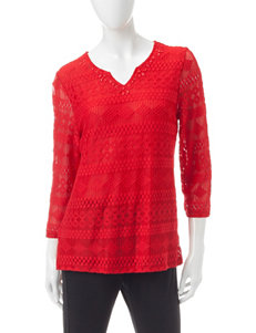 Alfred Dunner Red Textured-Lace Tunic Top