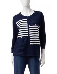Alfred Dunner Navy / White Pull-overs Sweaters