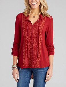 Democracy Red Embroidered Front Peasant Top