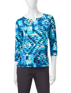 Ruby Road Blue & Black Geo Print Top