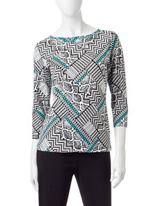 Ruby Road Black & White Geo Print Top