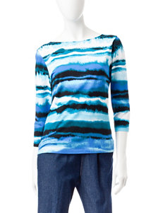 Ruby Road Watercolor Striped Print Top