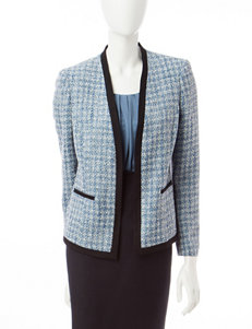 Kasper Blue & White Houndstooth Knit Jacket