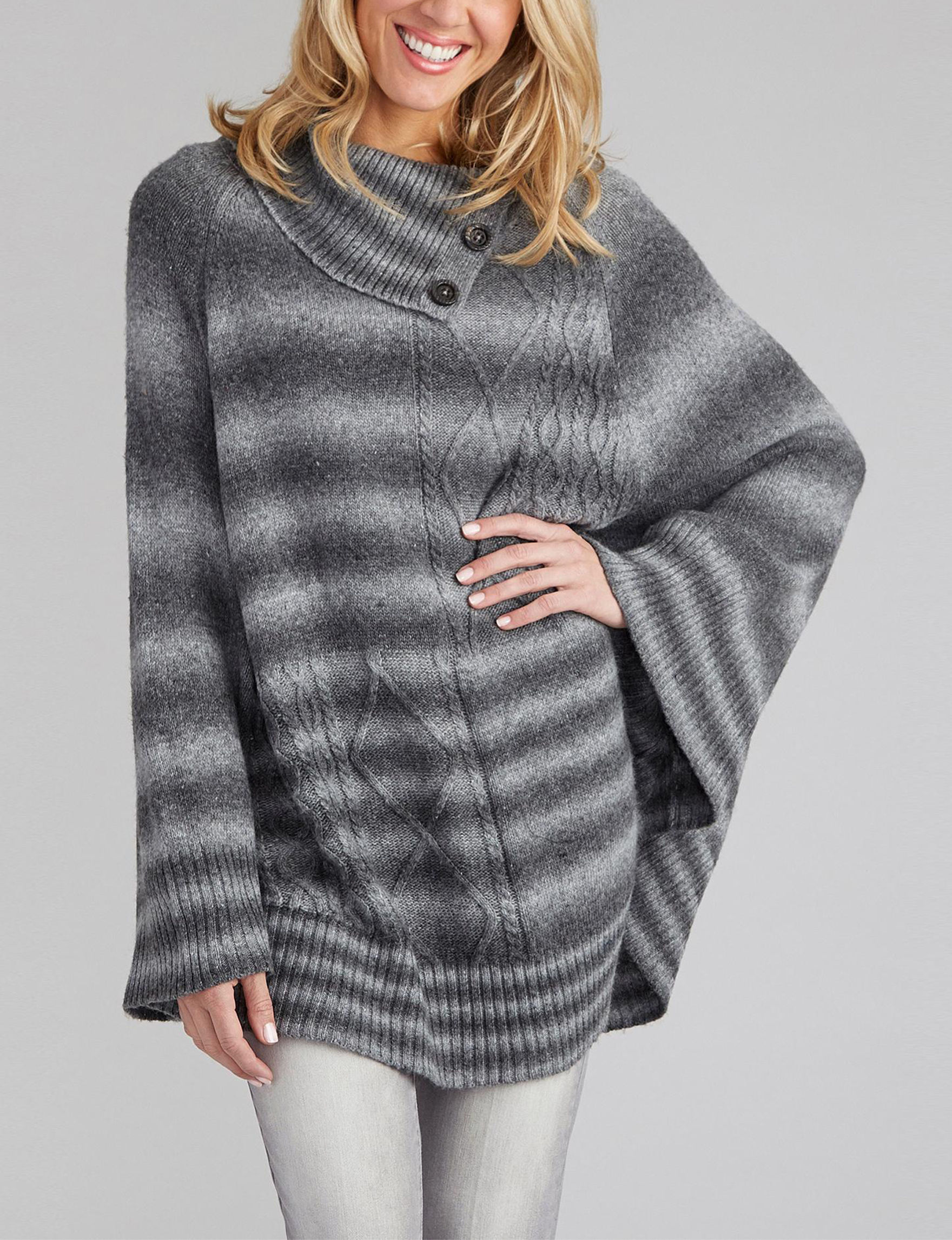 Democracy Grey Ponchos Sweaters