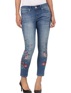 Seven 7 Floral Embroidered Skinny Ankle Jeans