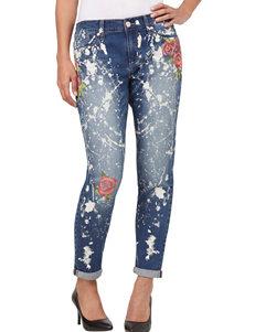 Seven 7 Splatter Paint & Floral Accented Girlfriend Jeans