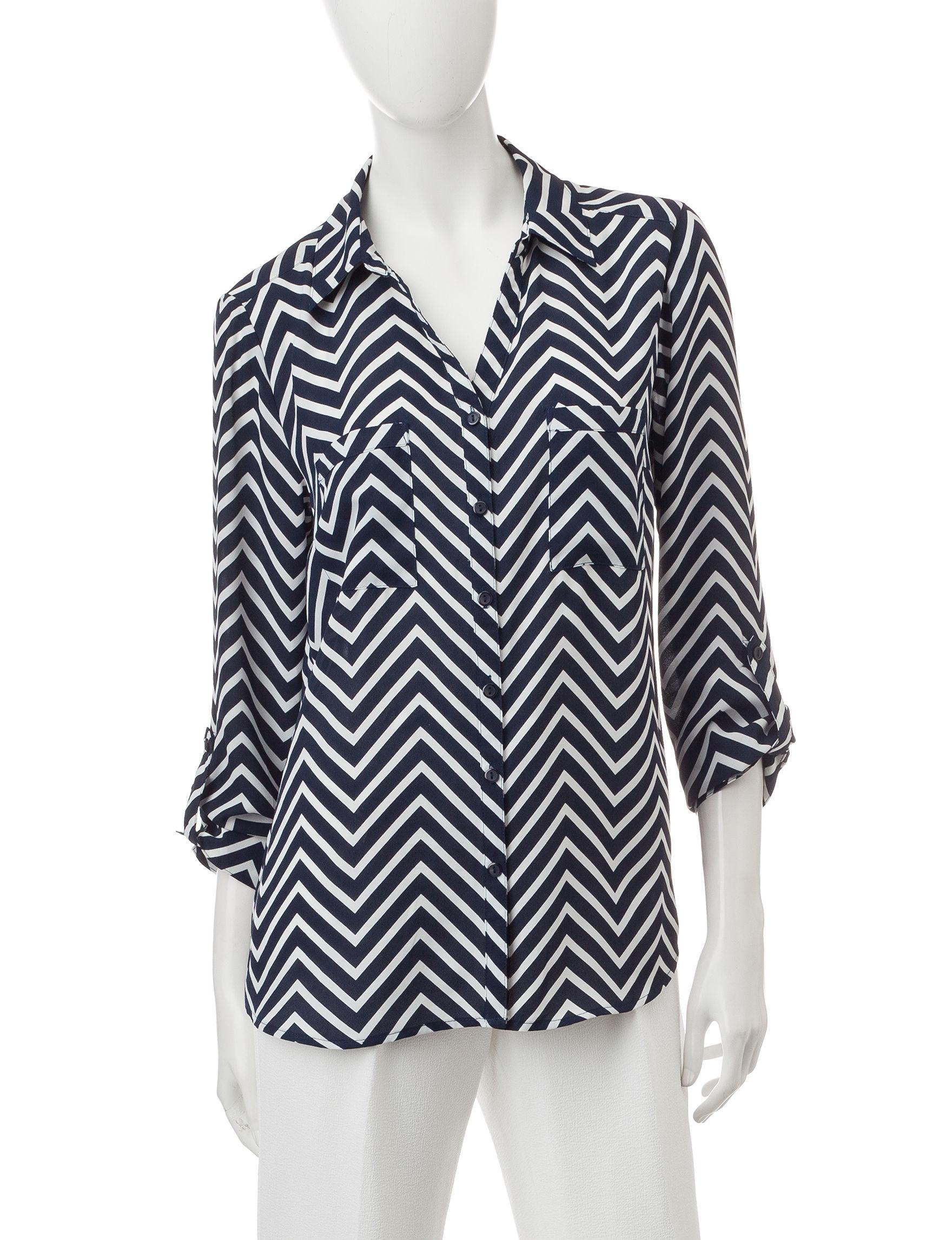 Valerie Stevens Navy Shirts & Blouses