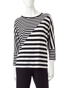 Calvin Klein Asymmetrical Striped Print Top