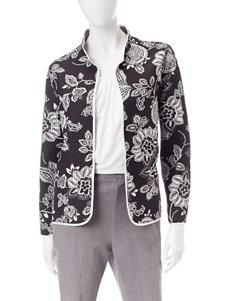 Alfred Dunner Black Multi Lightweight Jackets & Blazers