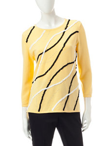 Alfred Dunner Yellow Pull-overs Sweaters