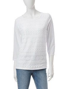 Cathy Daniels Striped Lace Front Panel Top