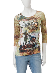 Rebecca Malone Wild West Rodeo Print Top