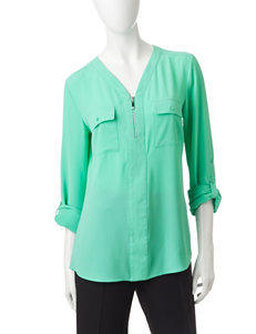 Valerie Stevens Turquoise Zip Neck Top
