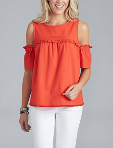 Democracy Ruffle Accent Cold-Shoulder Top