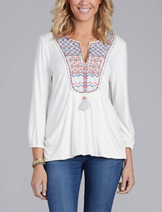 Democracy Tribal Embroidered Peasant Top