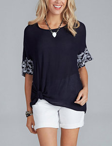 Democracy Embroidered Side Knot Top
