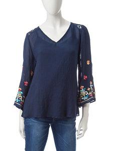 Valerie Stevens Navy Multi Shirts & Blouses