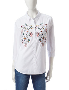 Hannah Embroidered Button Down Top