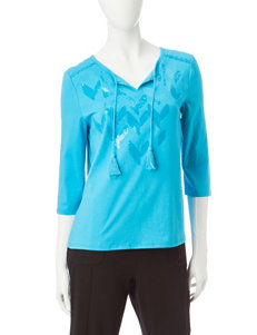 Onque Casuals Turquiose Shirts & Blouses