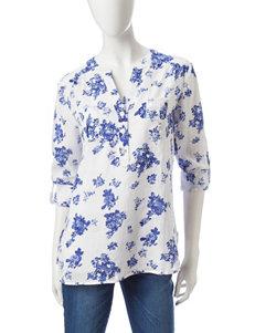 Hannah White / Blue Shirts & Blouses