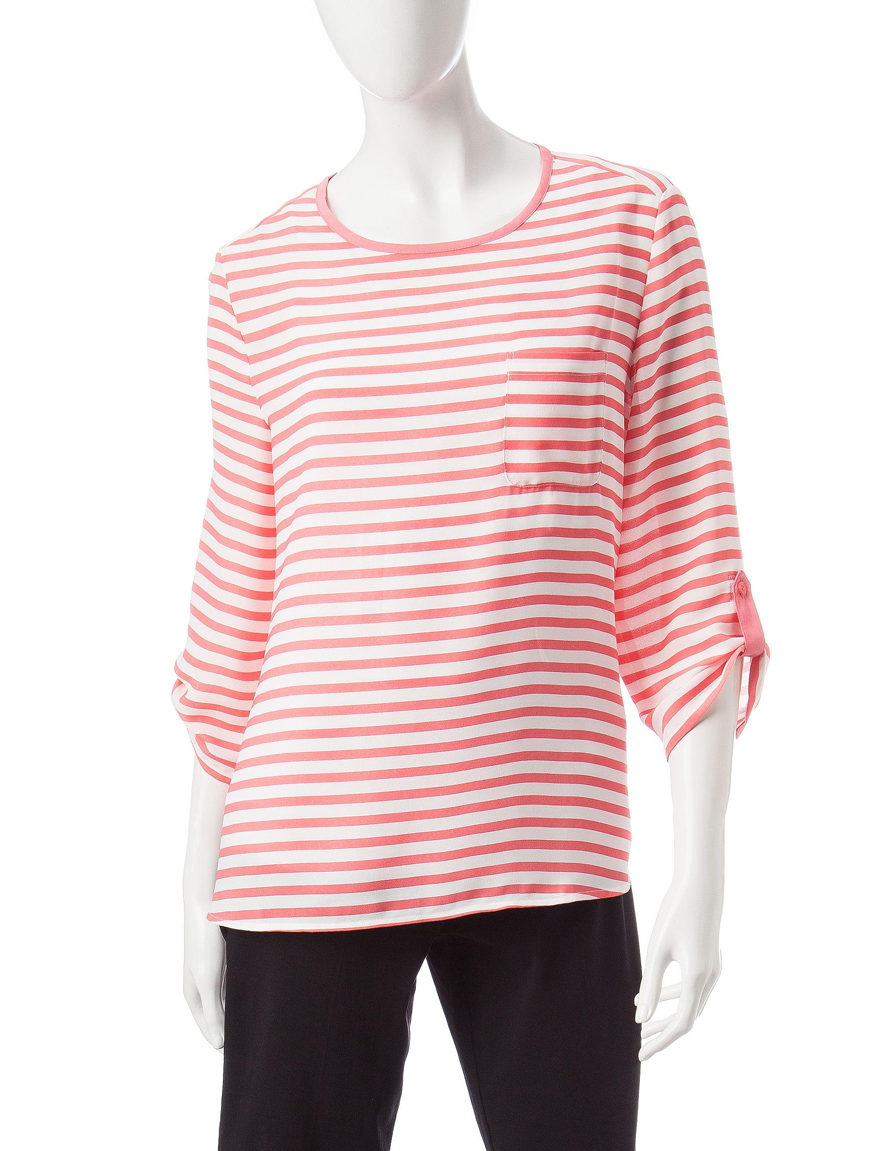 Valerie Stevens Orange / White Shirts & Blouses