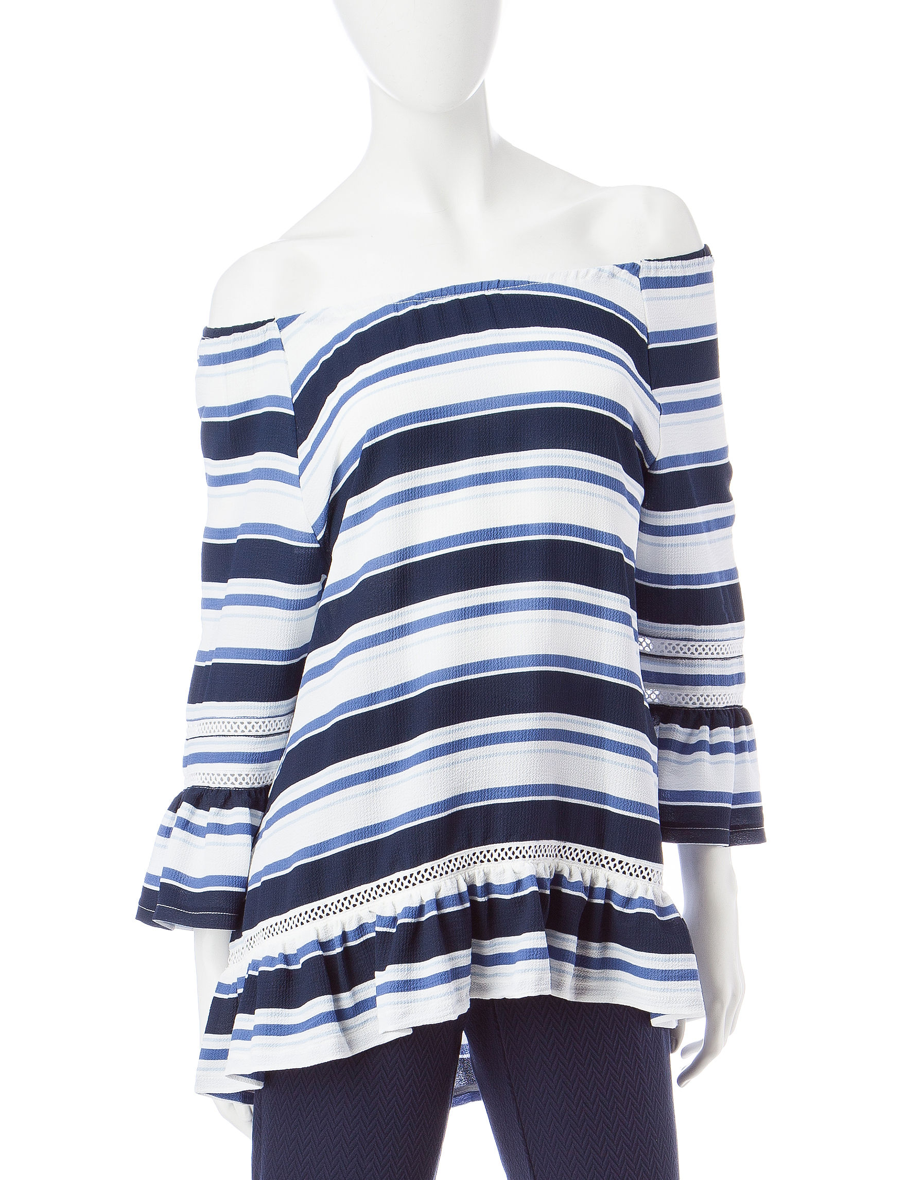 Valerie Stevens Blue Combo Shirts & Blouses