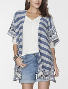 Chaps Blue Multi Ponchos Sweaters
