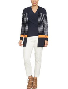Chaus Navy Capris & Crops Cardigans
