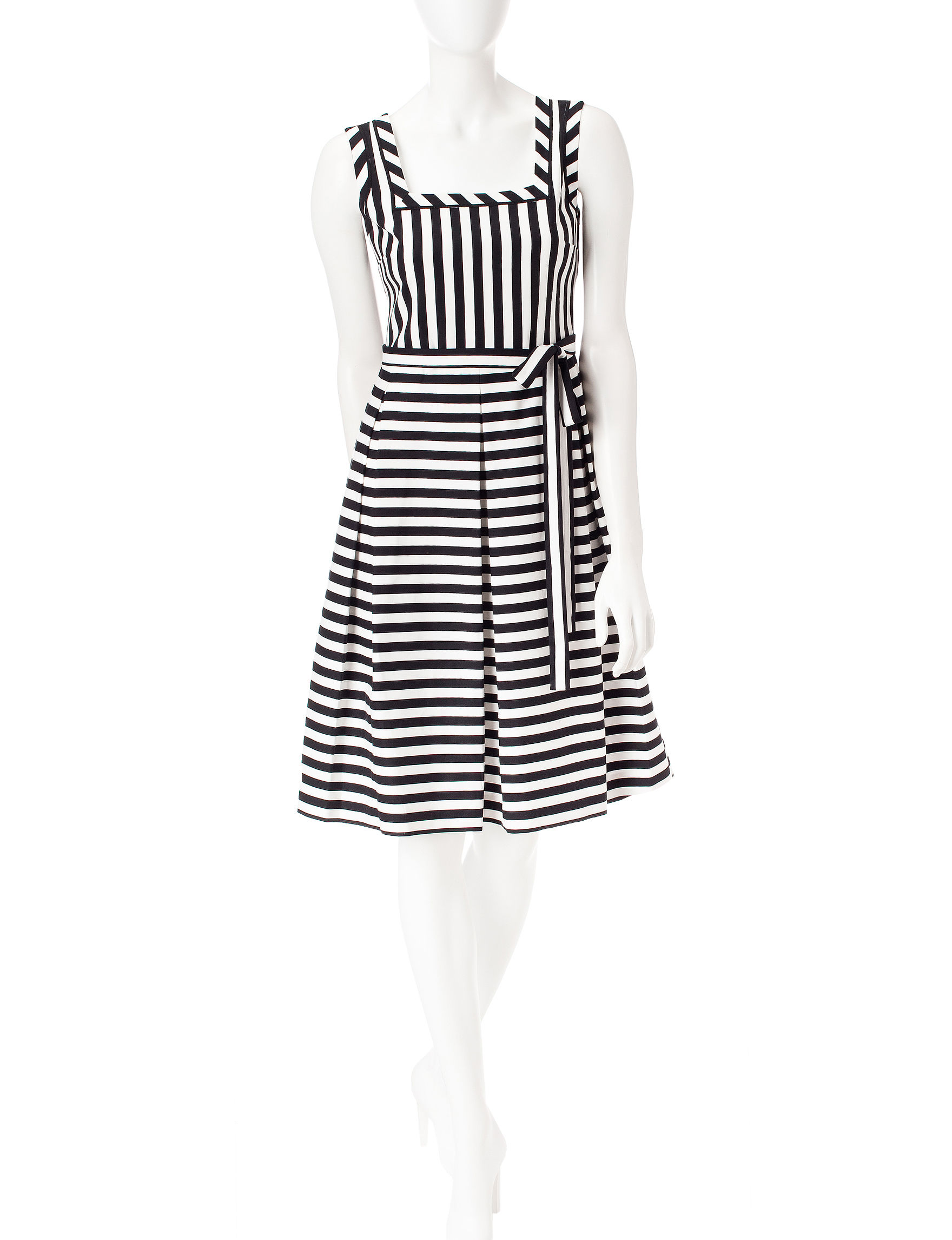 Anne Klein Black/ White Everyday & Casual Fit & Flare Dresses