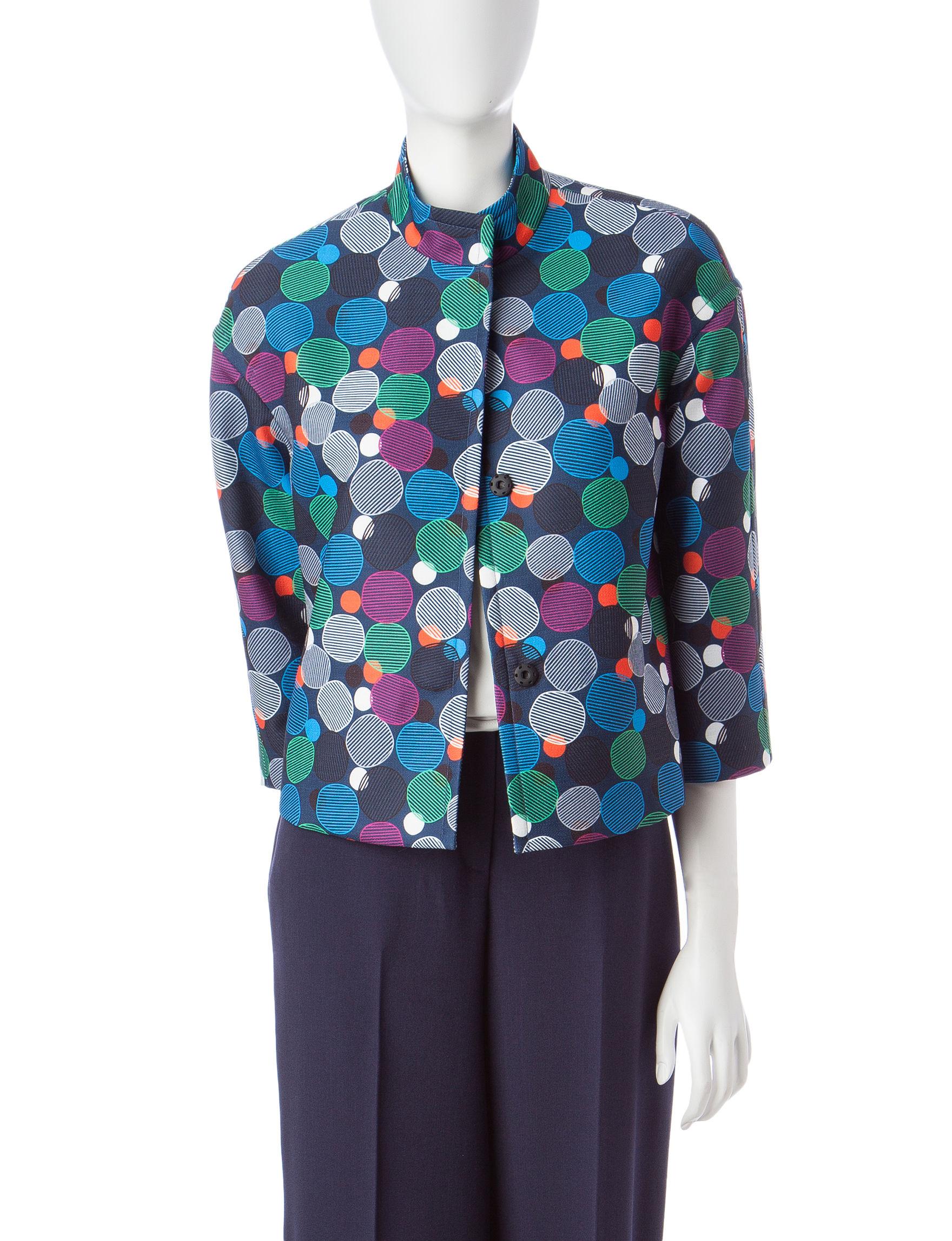 Anne Klein Navy Multi Lightweight Jackets & Blazers