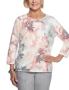 Alfred Dunner Pink Multi Everyday & Casual Sweaters
