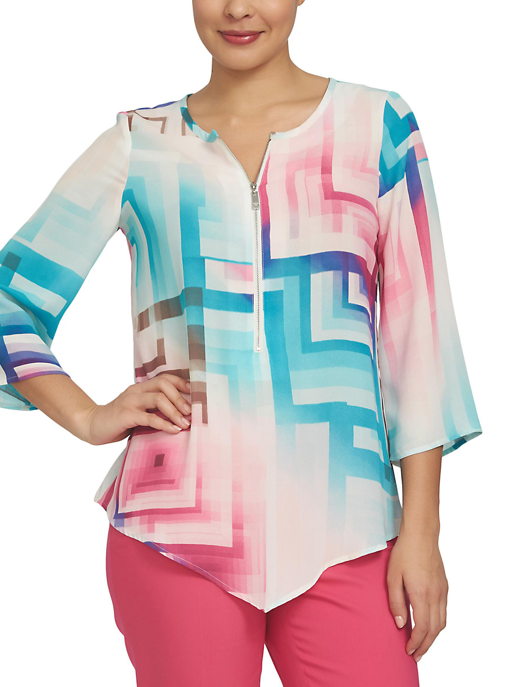 Chaus Pink / Blue Shirts & Blouses