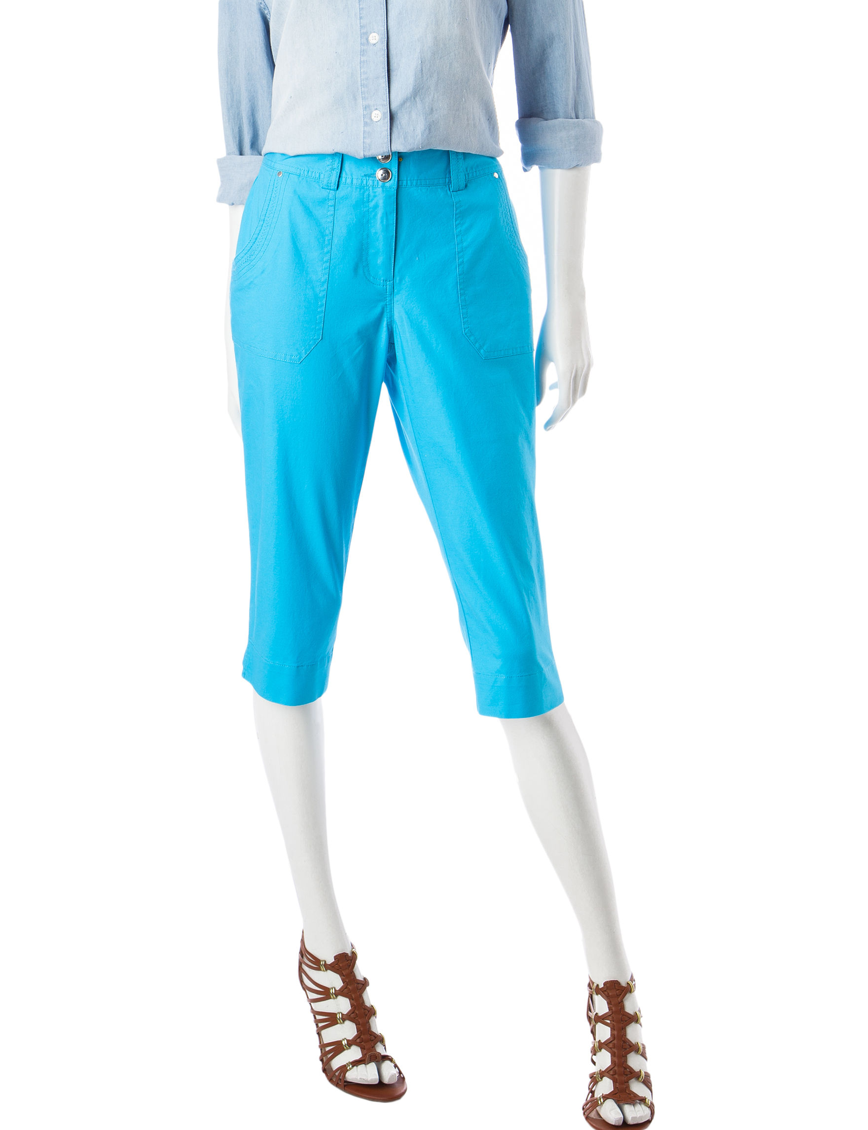 Hearts of Palm Turquoise Capris & Crops