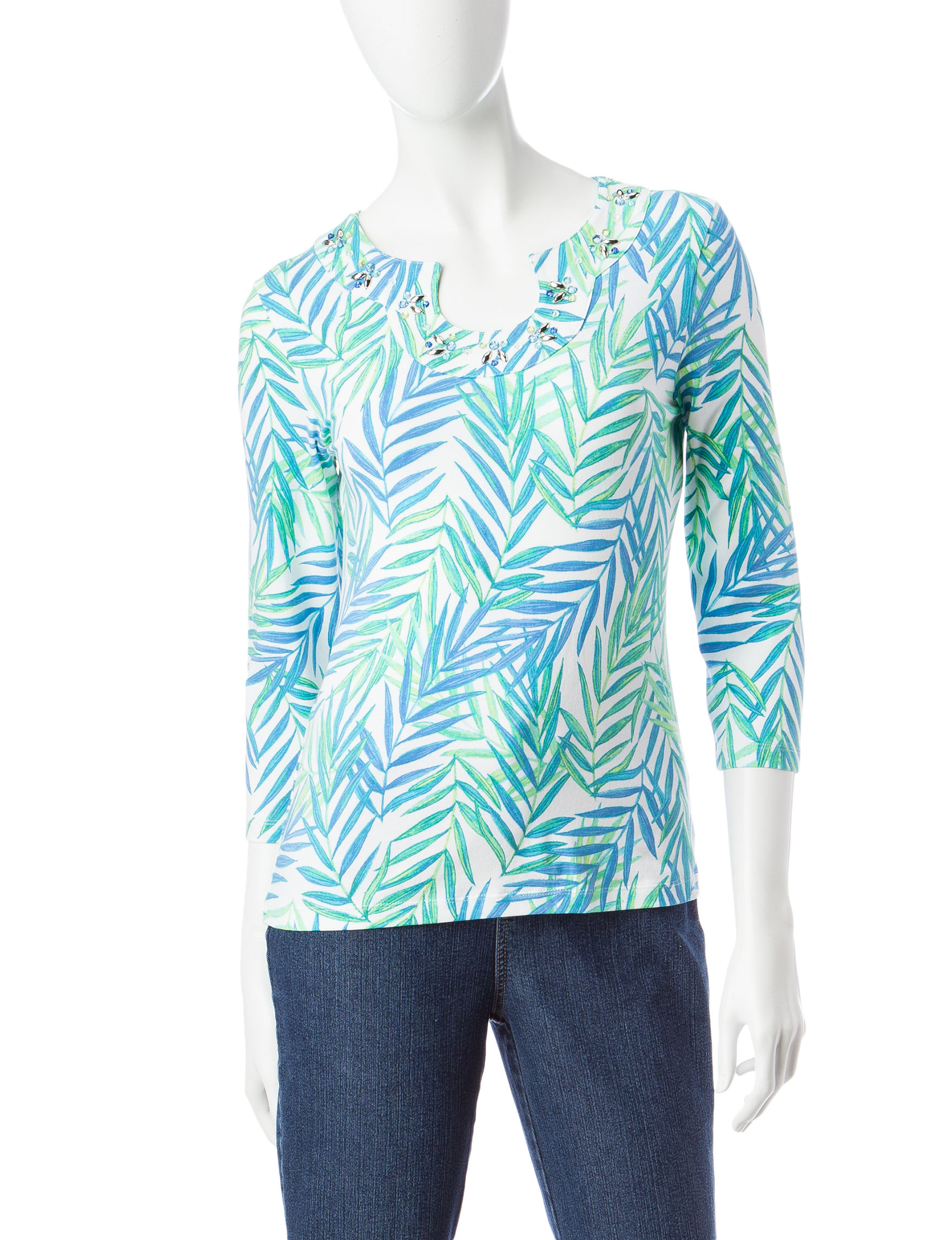 Hearts of Palm Turquoise Multi Shirts & Blouses