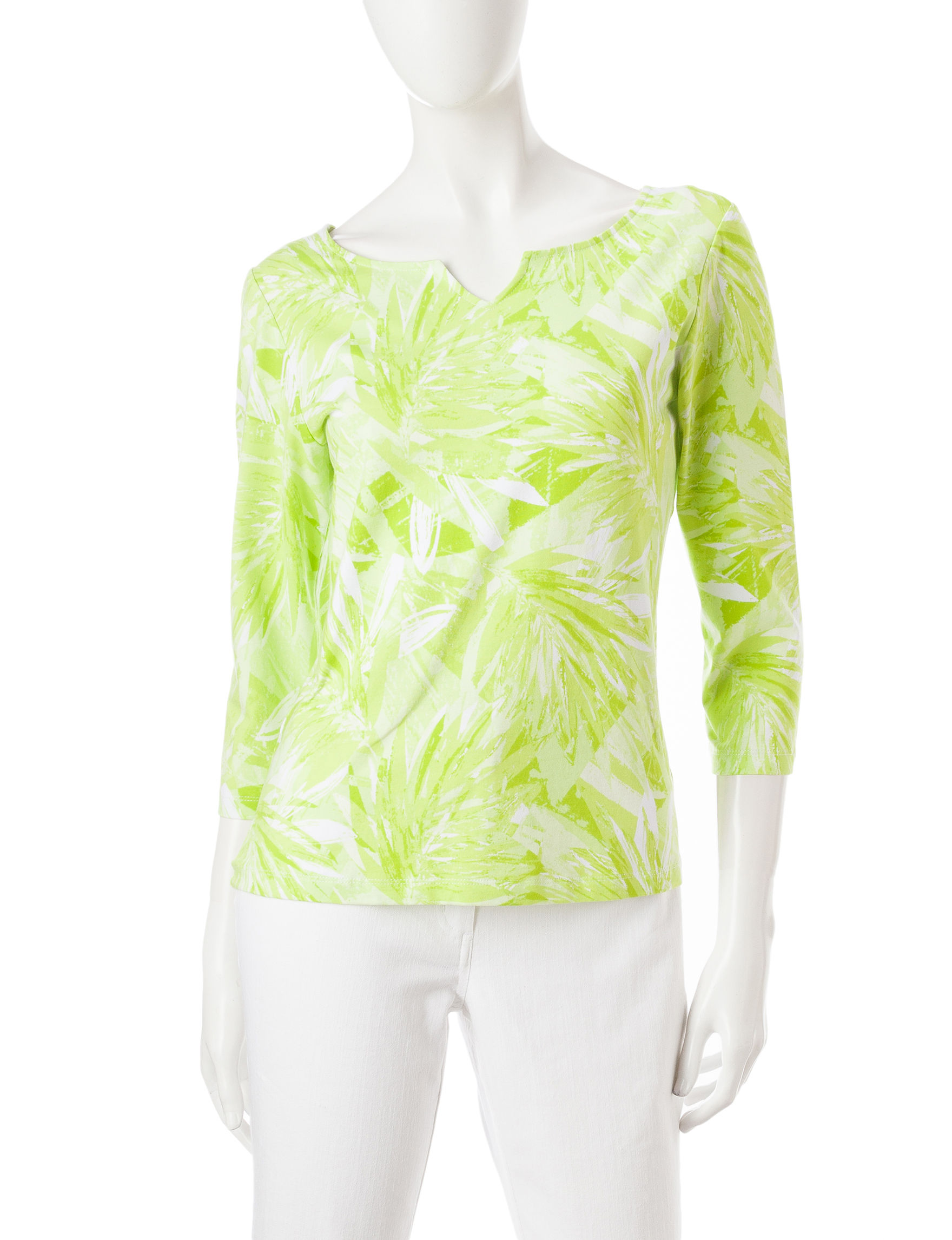 Hearts of Palm Green Multi Shirts & Blouses